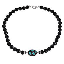 Judith Ripka Onyx, Black Spinel and Turquoise Necklace