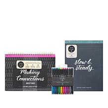 Kelly Creates Brush Lettering 3-piece Jeweled Pens & Paper Kit