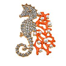 KJL by Kenneth Jay Lane Simulated Pearl and Crystal Seahorse Brooch