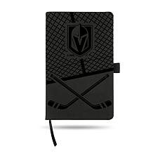 Laser-Engraved Black Notepad with Elastic Band - Golden Knights
