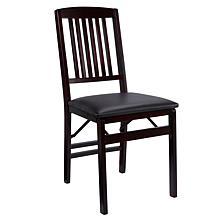Linon Home Jocelyn Mission Back Folding Chair - Brown