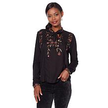 Lucky Brand Tie-Neck Embroidered Top -Missy