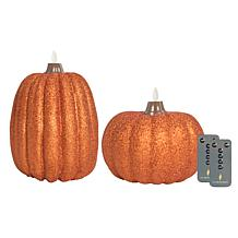 Luminara Set of 2 Glitter Pumpkin Flameless Candles