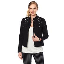 LYSSE Denim Jacket with Simulated Pearls - Missy