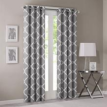 Madison Park Fretwork Print Grey Window Curtain
