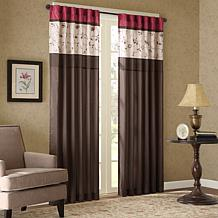 "Madison Park Serene Embroidered Panel Curtain-Red-50""x84"""