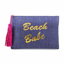 Magid Beach Babe Metallic Slogan Insulated Straw Clutch