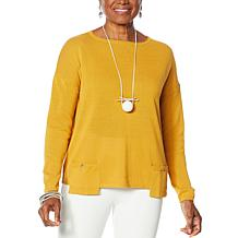 MarlaWynne Drop Pocket Boat-Neck Sweater