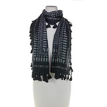 MarlaWynne Printed Cotton Scarf with Pompoms