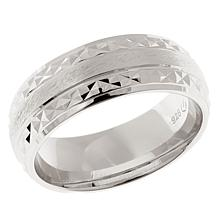 Men's Diamond-Cut and Brushed Sterling Silver 8mm Band