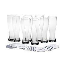 Mikasa Cheers Set of 8 Wheat Beers Glasses and Coasters