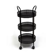 Mind Reader 3-Tier Metal Multi-Purpose Utility Cart with Wheels