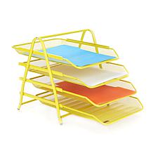 Mind Reader Desk Organizer with 4 Sliding Paper Trays - Yellow