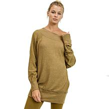 Mono B Off-The-Shoulder Hacci Sweater Dress