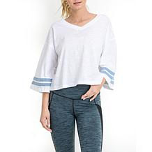 Mono B Wide Sleeve Tunic Shirt with Double Stripe Accent