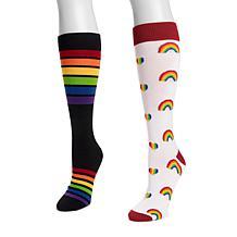 MUK LUKS® Unisex Knee High Pride Socks 2-Pair Pack