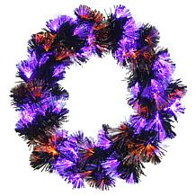 "National Tree Company 24"" Black Wreath with Purple and Orange Lights"