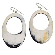 Natural Beauties Carved Oval Watusi Cattle Horn Drop Earrings