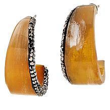 "Natural Beauties Crystal-Accented Watusi Horn 2-3/16"" J-Hoop Earrings"