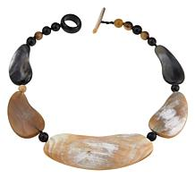 """Natural Beauties Frontal Watusi Cattle Horn 21"""" Necklace"""