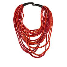 Natural Beauties Red Coconut Shell & Horn Necklace