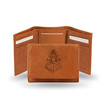 NCAA Embossed Leather Trifold Wallet - Purdue