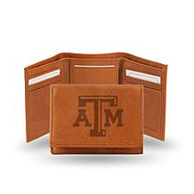 NCAA Embossed Leather Trifold Wallet - Texas A&M