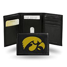 NCAA Embroidered Leather Trifold Wallet - Iowa