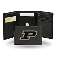 NCAA Embroidered Leather Trifold Wallet - Purdue