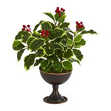 """Nearly Natural 15"""" Variegated Real Touch Holly Plant in Metal Chalice"""