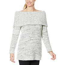 Nina Leonard Mixed Yarn Novelty Knit Sweater Tunic