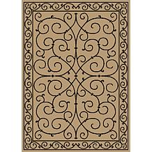 Oasis Scroll Design Indoor/Outdoor Reversible Rug