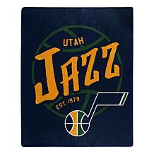 Officially Licensed NBA Black Top Raschel Throw Blanket - Jazz