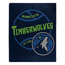 Officially Licensed NBA Black Top Raschel Throw Blanket - Timberwol...