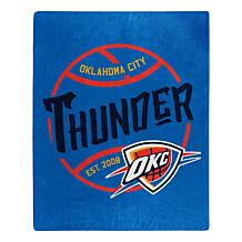 Officially Licensed NBA Black Top Raschel Throw - Thunder