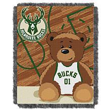 "Officially Licensed NBA Bucks ""Half-Court"" Baby Woven Jacquard Throw"