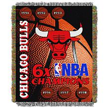 Officially Licensed NBA Bulls Commemorative Woven Tapestry Throw