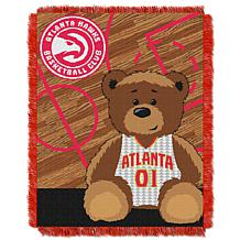 """Officially Licensed NBA Hawks """"Half-Court"""" Baby Woven Jacquard Throw"""