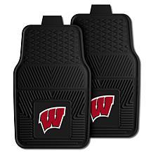 Officially Licensed NCAA  2pc Vinyl Car Mat Set - Un. of Wisconsin