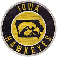 """Officially Licensed NCAA Iowa 12"""" Wood Circle"""