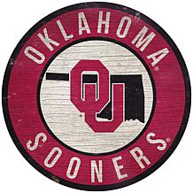 "Officially Licensed NCAA Oklahoma 12"" Wood Circle"