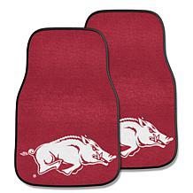 Officially Licensed NCAA University of Arkansas Carpet Car Mat 2Pc Set