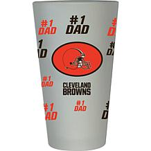 "Officially Licensed NFL ""#1 Dad"" 16 oz. Frosted Pint Glass -  Browns"
