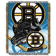 Officially Licensed NHL Bruins Home Ice Advantage Woven Tapestry Throw