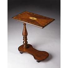 Olive Ash Burl Mobile Tray Table with Casters