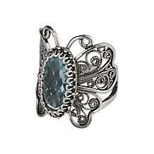 Ottoman Silver Gemstone Filigree Butterfly Ring