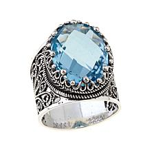 Ottoman Silver Jewelry 10ct Sky Blue Topaz Crown Ring