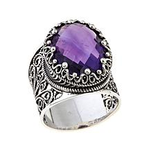 Ottoman Silver Jewelry 7.6ct Amethyst Crown Ring