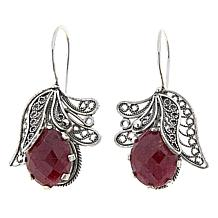 Ottoman Silver Jewelry Red Corundum Blossom Drop Earrings