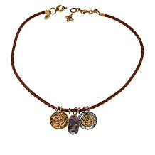 """Patricia Nash Charm Collection 18"""" Braided Leather Cord Drop Necklace"""